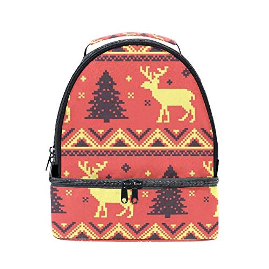 行自分のために最大化する旅人 ランチバッグ ダブルデザイン 手提げ 弁当袋 クリスマスツリー 鹿柄 冷蔵ボックス キャンプ用品 保冷 保温 学生 通勤族用