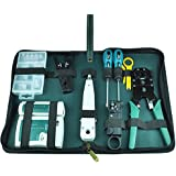 NUZAMAS Ethernet LAN RJ11 RJ45 CAT5 Cable Tester Network Analyzer Wire Crimping Crimper Stripper Tool Kit Screwdriver Punch-down Networking Tools Set