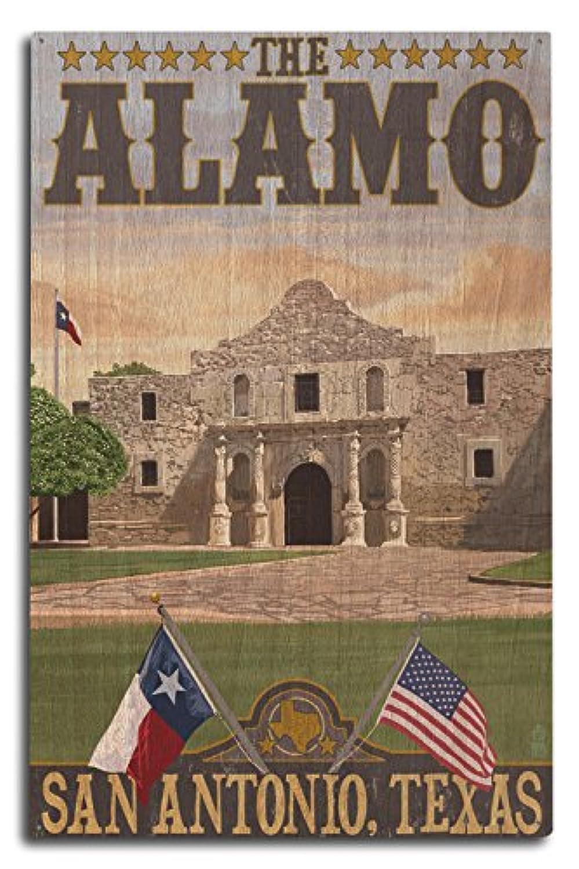 アラモMorningシーン – San Antonio、テキサス 10 x 15 Wood Sign LANT-36437-10x15W