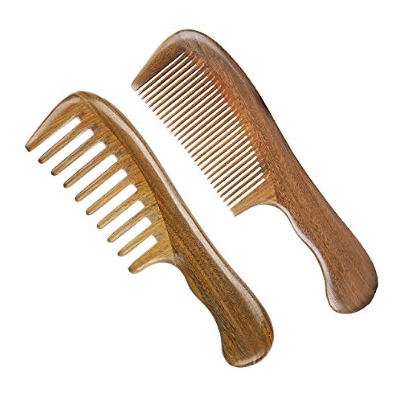 ウッドコームワイド歯とファイン歯ブラシウッドコーム、グリーンサンダルウッドアンチスタティックデタングルリングホーンコーム女性、男性と女性、厚く、