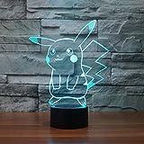 Pokemon Pikachu 3d LEDナイトライト、Elstey 3d Optical Illusion Visualランプ7色タッチテーブルデスクランプ