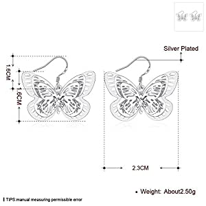 3つの蝶925銀めっきイヤリングファッションジュエリー