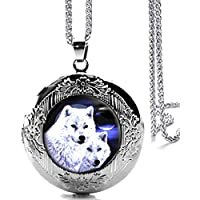 DianaL Boutique Silver Tone Wolf Locket Pendant Necklace Glass Cabochon Art Picture Fashion Jewelry