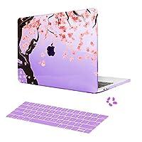 MacBook Airの11インチケース+キーボードカバーギフトファションハードシェルケースカバー舞い落ちった桜パテントのMacBook Air 11保護ケース(パープル)