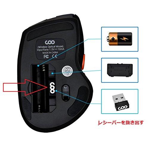 ワイヤレスマウス COO 2.4G 無線マウス 高精度 コンパクト 持ち運び便利 省エネルギー 電池付属(レッド)