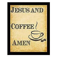 アート絵画 - イエスとコーヒーアーメン - 高級ダイニングルームの装飾的な額縁、ビンテージクラフトペーパースタイル - 18x14インチ