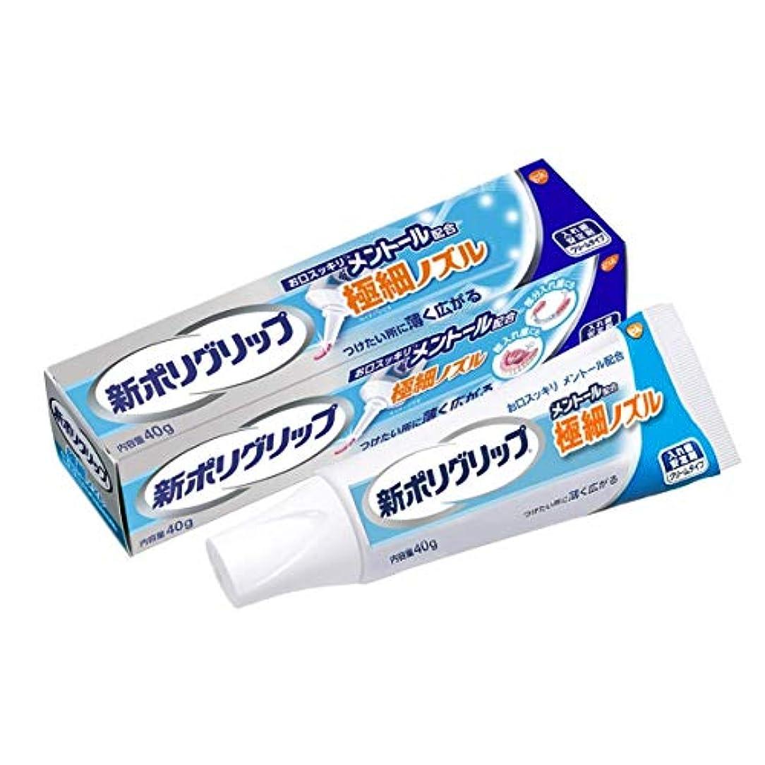 組失う投げる部分・総入れ歯安定剤 新ポリグリップ極細ノズル メントール 40g