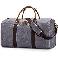 Plambag Water-Repellent Canvas Duffel Bag, Leather Trim Travel Carryon Handbag Shoulder Bag