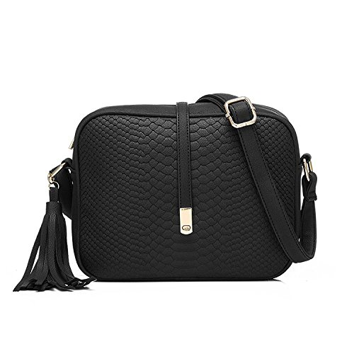 Realer Cross Body for Women Small Shoulder Bags PU Leather Side Purse (Black)