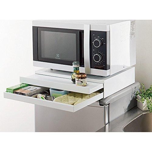 家電周りでの調理をサポートするレンジ下スライドテーブル 引き出し付き 幅45cm 511023