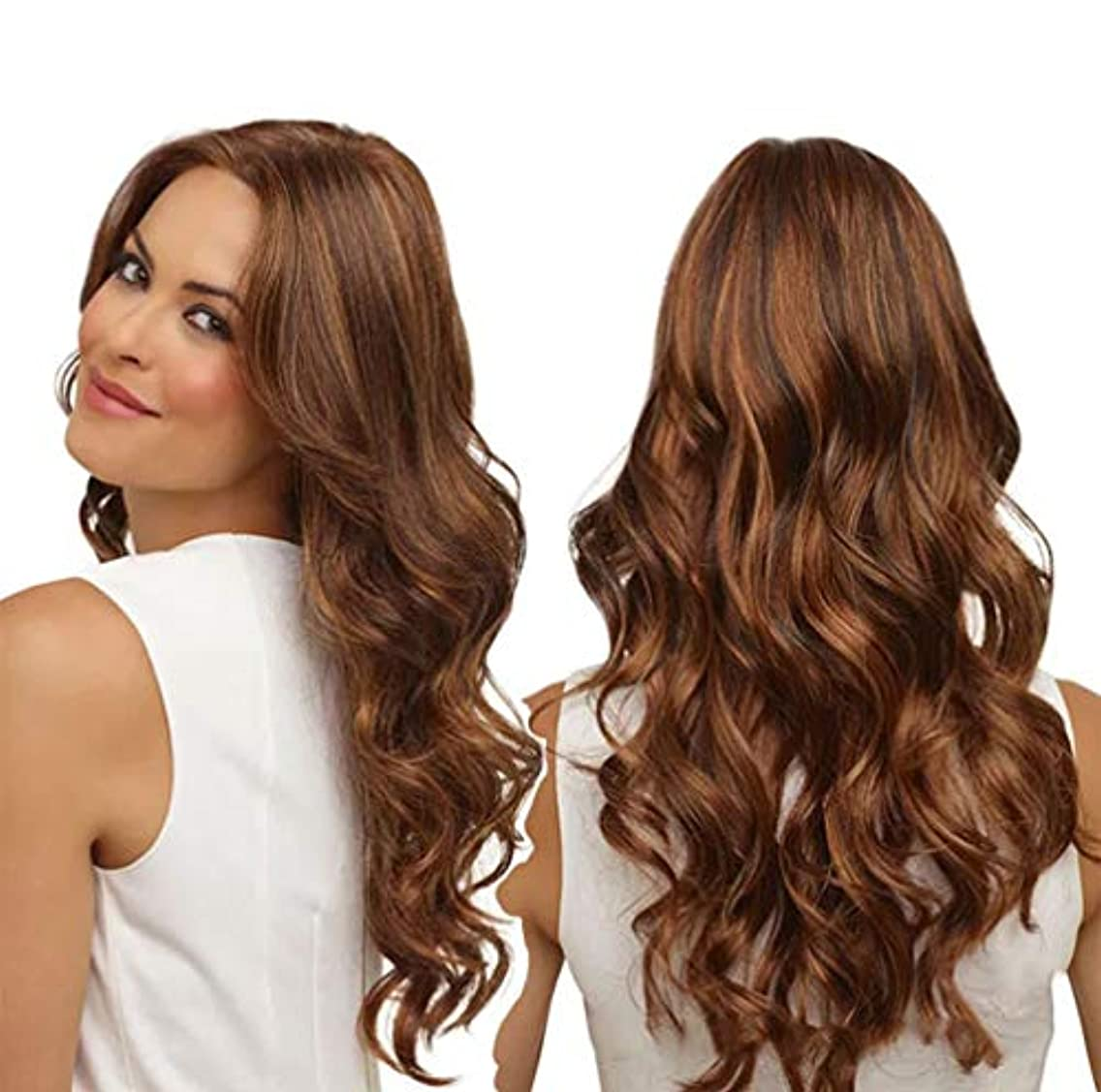 相反する肖像画柱女性かつら150%密度耐熱合成繊維人毛水波かつらベビー髪かつら65センチ