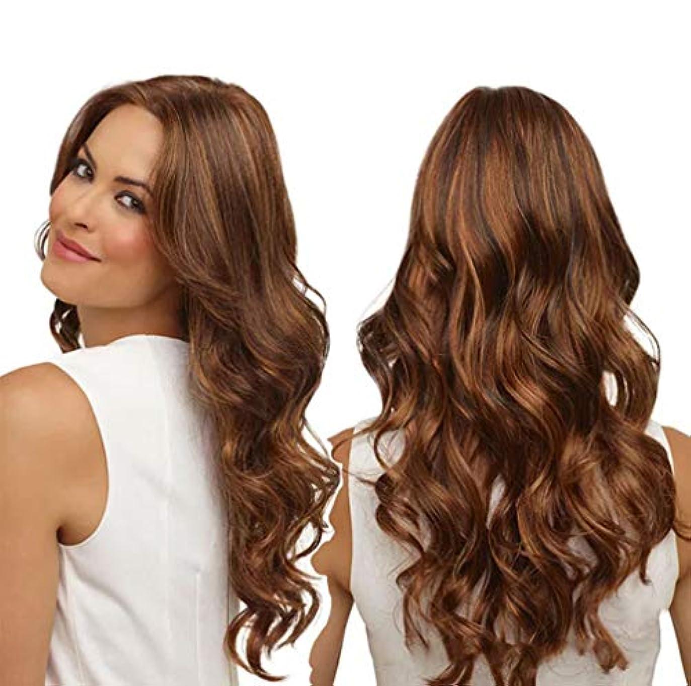シンプルな丘牽引女性かつら150%密度耐熱合成繊維人毛水波かつらベビー髪かつら65センチ