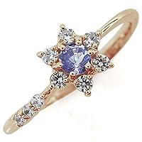 プレジュール 結婚10周年 タンザナイト 流れ星 指輪 ブライダルリング K10ピンクゴールド リングサイズ15号