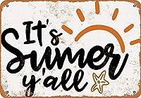 なまけ者雑貨屋 It's Summer Y'all ブリキ看板 壁飾り レトロなデザインボード ポストカード サインプレート 【20×30cm】