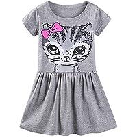LittleSpring Little Girls Dresses Summer Cat Print