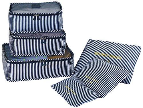 レバーボックス収納袋を引いてレンジケース トラベルポーチ 6点セット出張 便利グッズ トラベルケー 旅行用収納バッグ 収納ポーチ 衣類整 (Navy blue stripes)