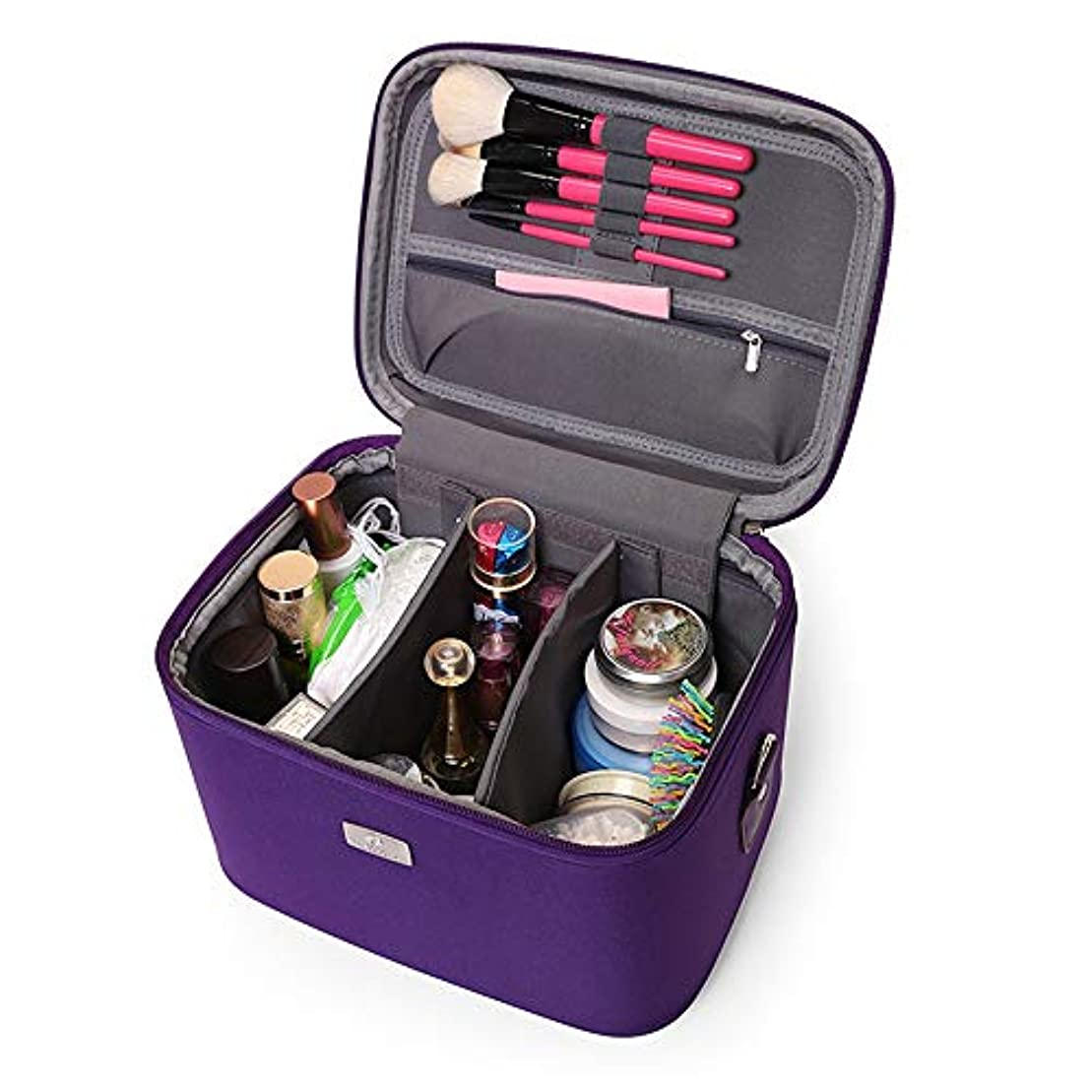 硫黄特定の可動式化粧オーガナイザーバッグ 14インチのメイクアップトラベルバッグPUレター防水化粧ケースのティーン女の子の女性アーティスト 化粧品ケース (色 : 紫の)