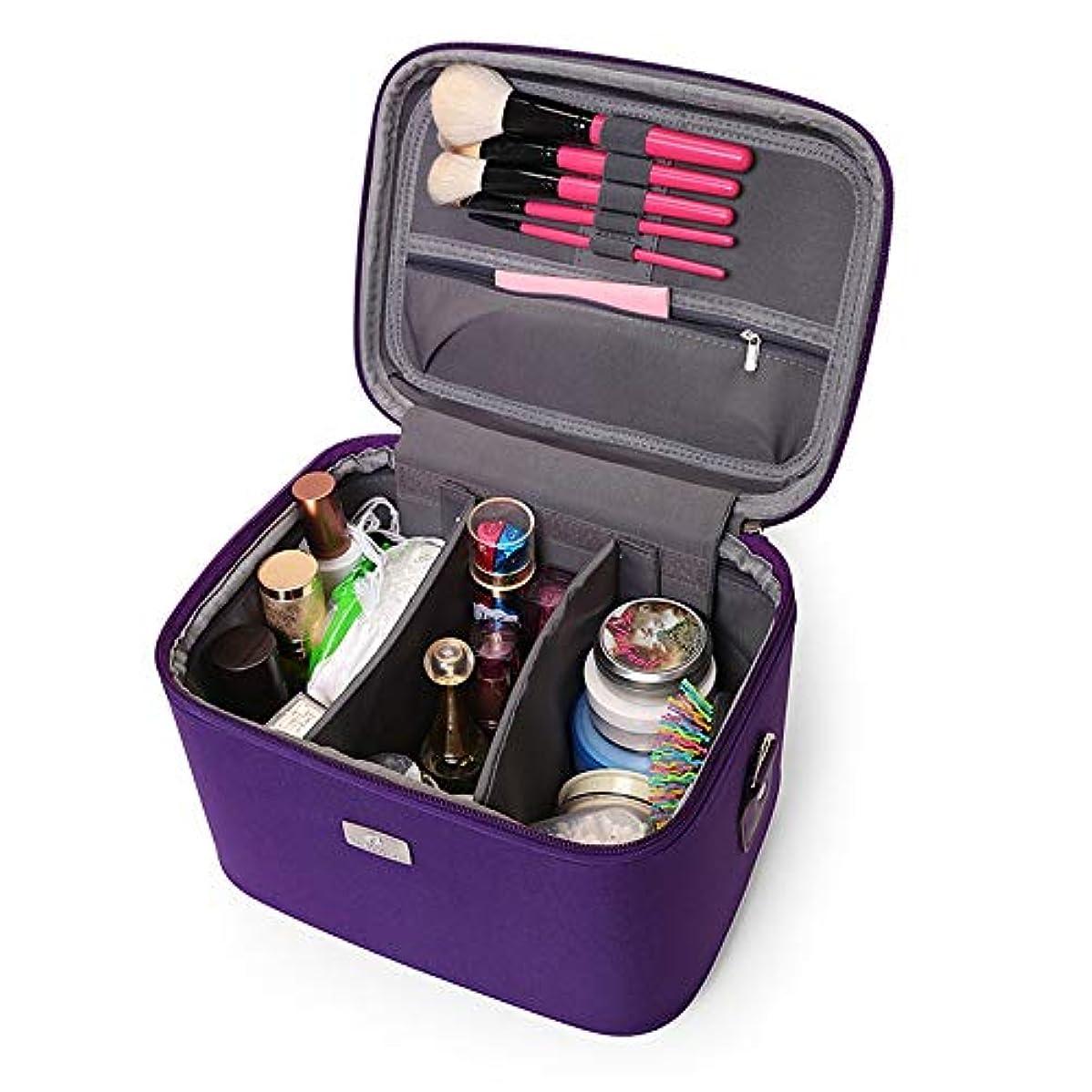 骨パッケージ階化粧オーガナイザーバッグ 14インチのメイクアップトラベルバッグPUレター防水化粧ケースのティーン女の子の女性アーティスト 化粧品ケース (色 : 紫の)