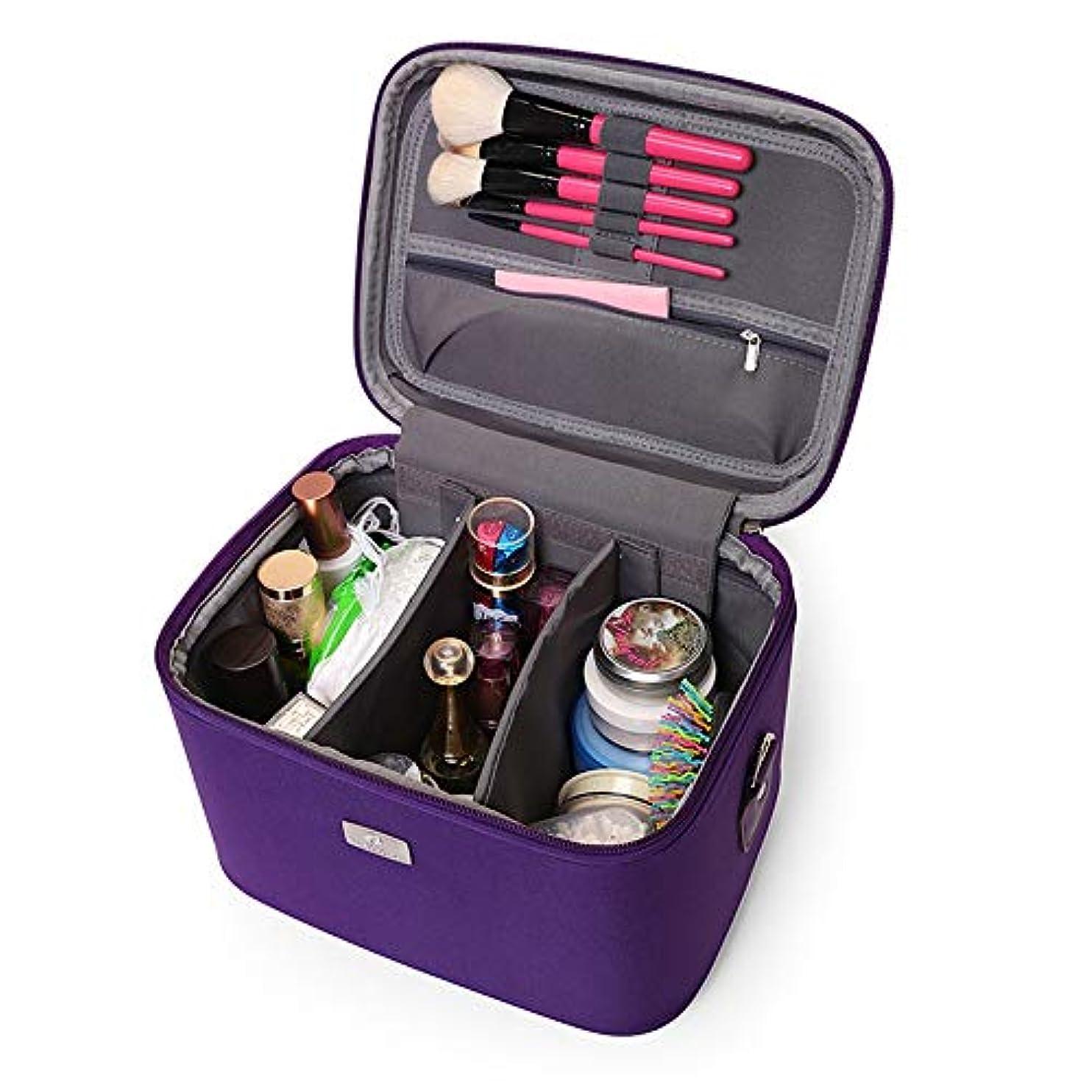 降ろす推測リーフレット化粧オーガナイザーバッグ 14インチのメイクアップトラベルバッグPUレター防水化粧ケースのティーン女の子の女性アーティスト 化粧品ケース (色 : 紫の)
