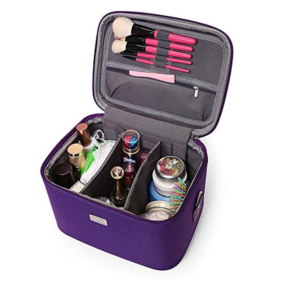 帰る噴出するさせる化粧オーガナイザーバッグ 14インチのメイクアップトラベルバッグPUレター防水化粧ケースのティーン女の子の女性アーティスト 化粧品ケース (色 : 紫の)