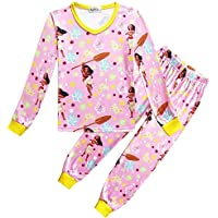 LUKEEXIN Children's Moana Pajamas Cotton Soft Kids Pajamas Set Long Sleeve Family Wear for Sleep
