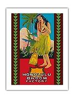 ホノルル ほうき工場 - ハワイアンフラガール - ビンテージな広告ポスター c.1950s -プレミアム290gsmジークレーアートプリント - 46cm x 61cm