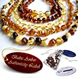 Baltic Amber Teething Necklaces & Bracelets For Babies -- Agba® Certified Authentic W/ Traceable Serial Number -- Famous For Relieving Teething Pain, Drooling, Anxiety -- Highest Quality + Genuine Certification + 24 Hours Ship (Choose from 7 Amber Colours)