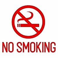 【NO SMOKING(禁煙エリア) カッティングステッカー 2枚組 幅約18cm×高約15.8cm】ノースモーキング、禁煙ステッカー。カラー:赤(レッド)