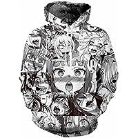 Kowelso Men/Women Anime Ahegao Full Printed Sweatshirt Fashion Hip Hop Hoodies
