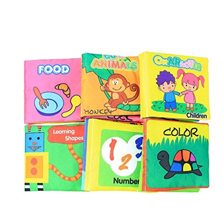 赤ちゃんの最初非毒性ファブリック柔らかい布帳セットCrinkle、カラフル、Squeak、Rattle Rustlingサウンドアクティビティの学習おもちゃ幼児、子供幼児と – パックof 6