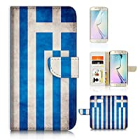 Samsung Galaxy ( S6 Edge ) Flip Wallet Case Cover & Screen Protector Bundle! A20005 Greece Flag Vintage