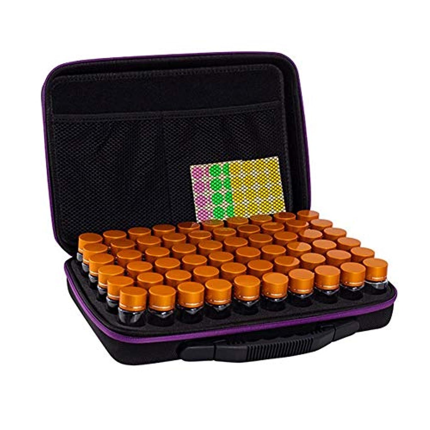 調整過敏な気性精油収納ボックス エッセンシャルオイルケース 携帯用 香水収納バッグ アロマケース 精油ケース 大容量 傷防止 耐衝撃 EVA アロマセラピストポーチ 60本用 エッセンシャルオイル収納ボックス