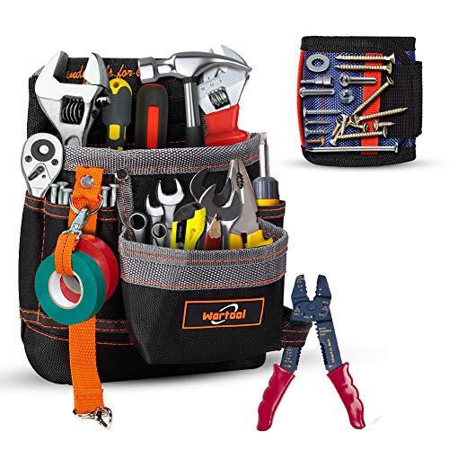 ツールバッグ 工具差し入れ オックス 道具袋 工具バッグ 磁性リストバンドが付き 工具収納 携帯便利 電気工仕様 (工具が含まない)