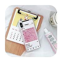 ピンクレタープリントラブハート液体電話ケースグリッターソフトTpuケースIphone 6 6 s 7 8プラスX Xs Xr Xsmaxおかしいカバー-白い-iphone 6plus用