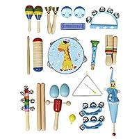 P Prettyia パーカッションセット 子供 おもちゃ シェーカーベル 打楽器 音楽玩具 全2色 22点セット - ブルー