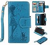 Yiizy LG X Power K220DS K220 ケース 手帳型 ガール エンボス加工 カバー 本革ソフトレザー 対応 ケース カードポケット スタンド機能 マグネット式 財布型 カバー (青)