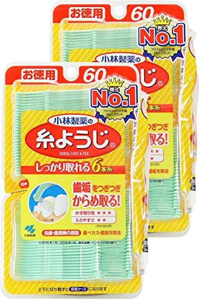【まとめ買い】小林製薬の糸ようじ フロス&ピック デンタルフロス 60本×2個 (糸ようじ試供品付)