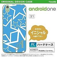 X1 スマホケース androidone ケース アンドロイドワン イニシャル 星 水色×白 nk-x1-1119ini E