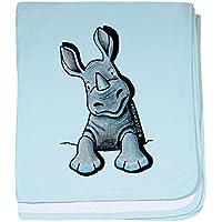CafePress – ポケットRhino – スーパーソフトベビー毛布、新生児おくるみ ブルー 053643854425CD2