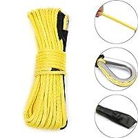 DADANGSH 7000ポンド50フィート黄色の合成ウインチロープケーブル牽引ロープATVウインチライン1/4インチ DIYツール