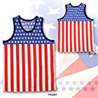 タンクトップ アメリカ国旗柄タンクトップ USA タンクトップ 星条旗 衣装 米国 ものまね 20代 30代 40代 服 プレゼント 男性 メンズ 通販 アメリカ国旗/FREE