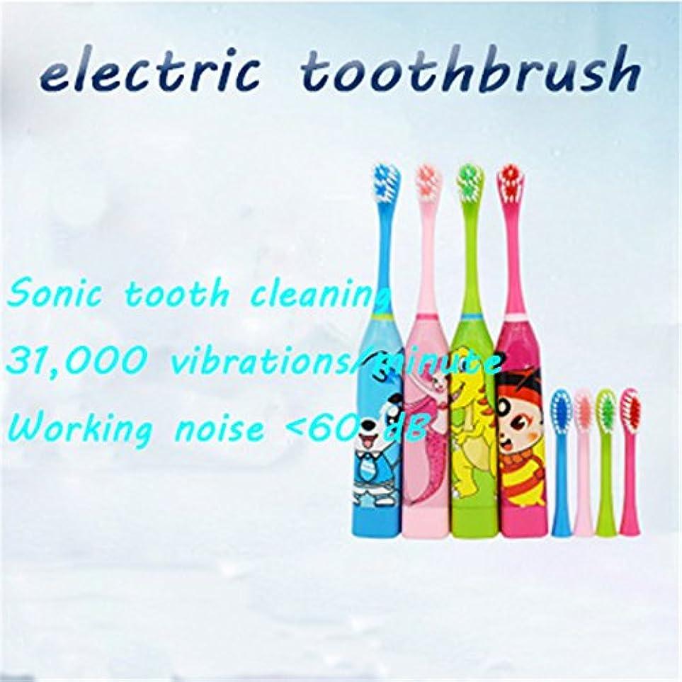 持続する否認する分析的子供用歯ブラシ子供用電動歯ブラシ洗濯ギフトドラえもん漫画超音波電動歯ブラシ2個のブラシヘッド (Blue jingle cat)