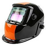ブルースパイダー自動遮光溶接面 自動フィルター ワイドビュータイプ 遮光速度1/25000秒 ソーラー充電式溶接マスク/溶接ヘルメット  (ブラック&オレンジ)