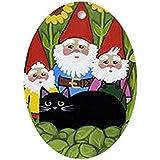 Alva443Anne Garden Gnomes & Black Cat - Oval Holiday Christmas Ornament