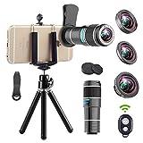 Best iphoneレンズキット - 望遠レンズキット,4 in 1 携帯電話のカメラレンズ,12x望遠レンズ + 180°魚眼レンズ + 0.65x広角レンズ Review
