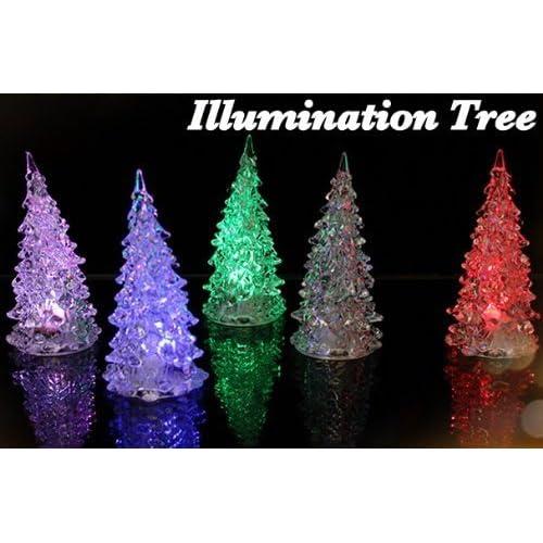 レインボー イルミネーション ミニ クリスマス  ツリー LED ライト  お得な 3個 セット