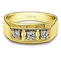 イエローメッキシルバーメンズ結婚指輪ダイヤモンド(G - H、i2- i3)( 0.48ct )サイズ3to 15In 1/ 4サイズ間隔