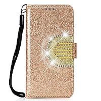 iPhone XR レザーケース 手帳型 iphone XR 財布型 保護ケース 耐衝撃カバー カードホルダ アイフォンxr ケース 可愛い ダイアリー型 女性らしい 人気 ストラップ付き キラキラ 化粧鏡 ミラー 付き アイフォンXR 6.1インチ対応 (iPhone XR, ゴールド)