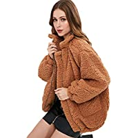 CharMma Women's Faux Fur Zip Up Long Sleeve Slip Pockets Cozy Fit Jacket