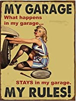 "My Garage、私のルール装飾メタルサイン 12""x16"" HB7050"